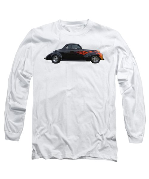 Long Sleeve T-Shirt featuring the photograph Reflections Of A 1940 Ford Deluxe Hot Rod With Flames by Gill Billington