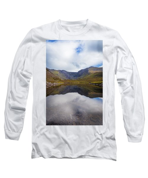 Reflections Of The Macgillycuddy's Reeks In Lough Eagher Long Sleeve T-Shirt by Semmick Photo