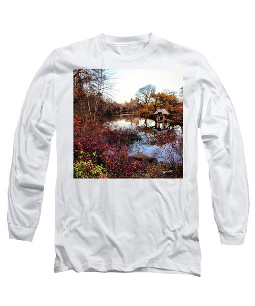 Long Sleeve T-Shirt featuring the photograph Reflections On A Winter Day - Central Park by Madeline Ellis