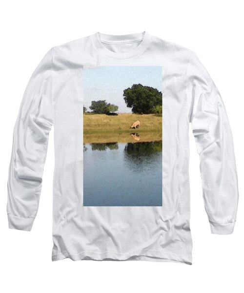 Reflective Cow Long Sleeve T-Shirt by Donna G Smith
