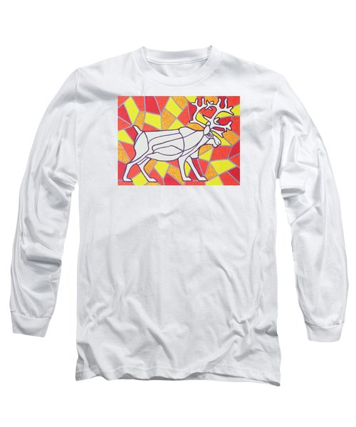 Reindeer On Stained Glass  Long Sleeve T-Shirt
