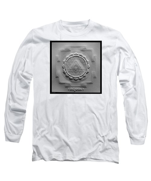 Long Sleeve T-Shirt featuring the relief Relief Shree Yantra by Suhas Tavkar