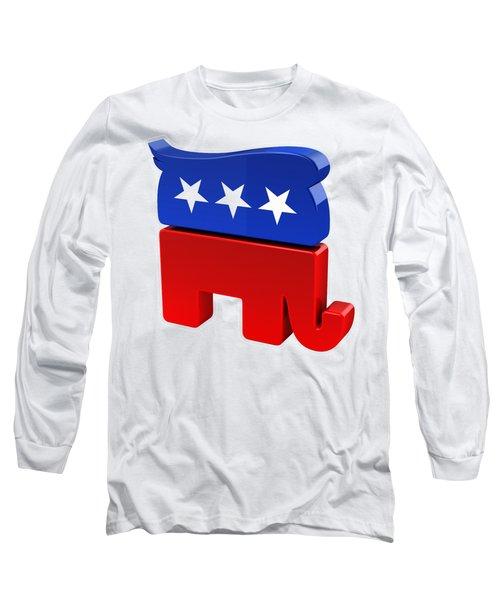 Republican Elephant With Trump Hair Long Sleeve T-Shirt by Carsten Reisinger
