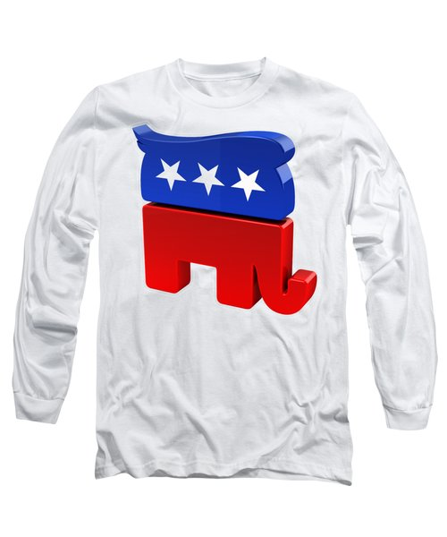 Republican Elephant With Trump Hair Long Sleeve T-Shirt