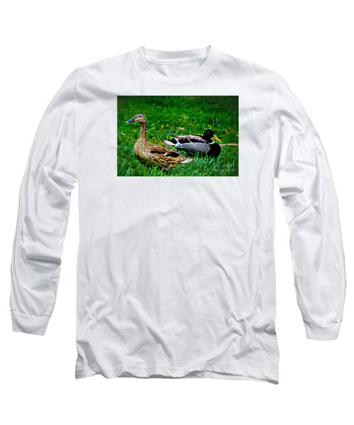 Long Sleeve T-Shirt featuring the photograph Resting Ducks by Mariola Bitner