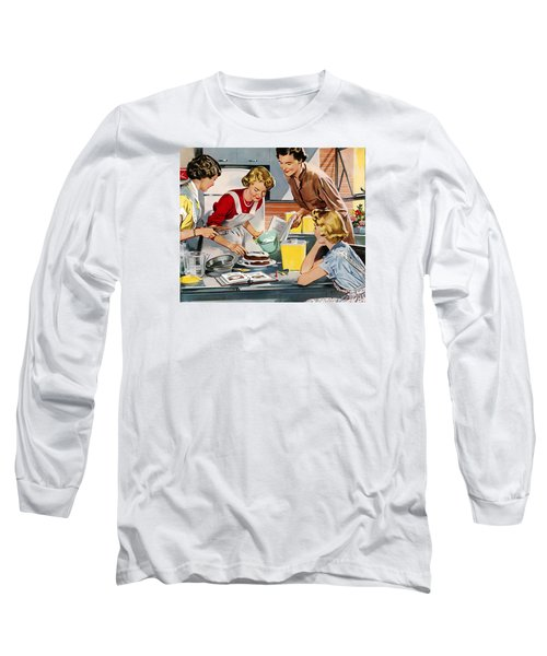 Long Sleeve T-Shirt featuring the digital art Retro Home by Reinvintaged