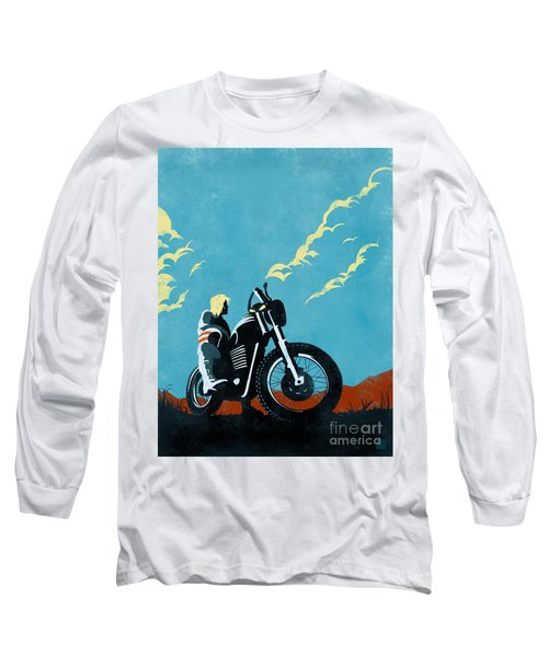 Retro Scrambler Motorbike Long Sleeve T-Shirt