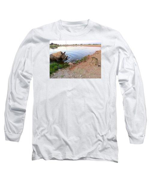 Rhino Cheetah Confrontation Long Sleeve T-Shirt