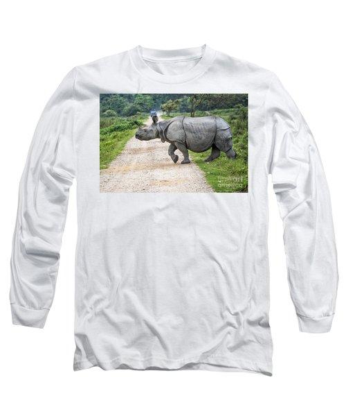 Rhino Crossing Long Sleeve T-Shirt by Pravine Chester