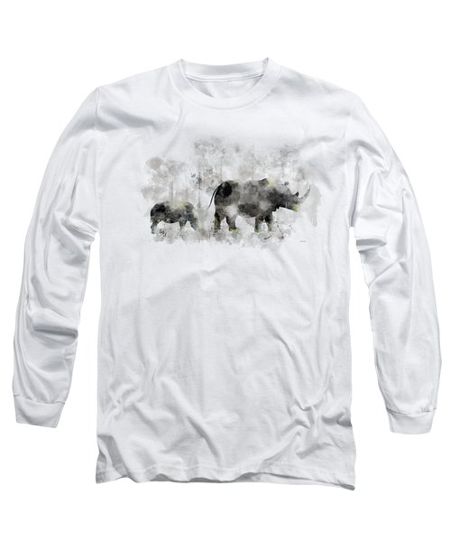 Rhinoceros And Baby Long Sleeve T-Shirt
