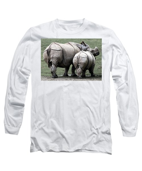 Rhinoceros Mother And Calf In Wild Long Sleeve T-Shirt