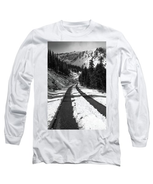 Ribbon To The Unknown Monochrome Art By Kaylyn Franks Long Sleeve T-Shirt