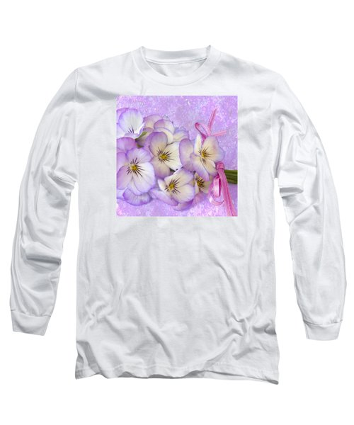 Ribboned Pansies  Long Sleeve T-Shirt