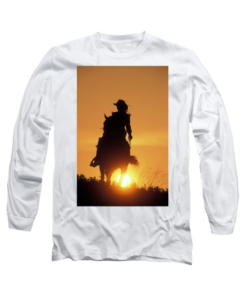 Riding Cowgirl Sunset Long Sleeve T-Shirt