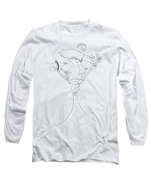 Riding The Spine Ramp - Microscooter Cartoon Long Sleeve T-Shirt