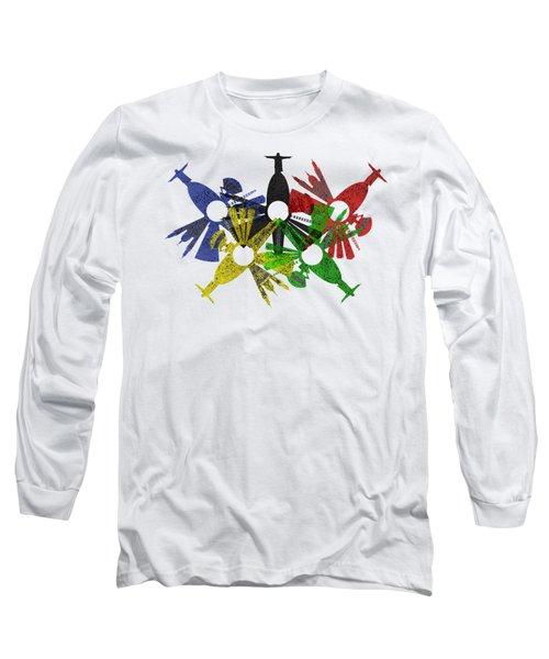 Rio De Janeiro Skyline In Various Colors Long Sleeve T-Shirt by Michal Boubin