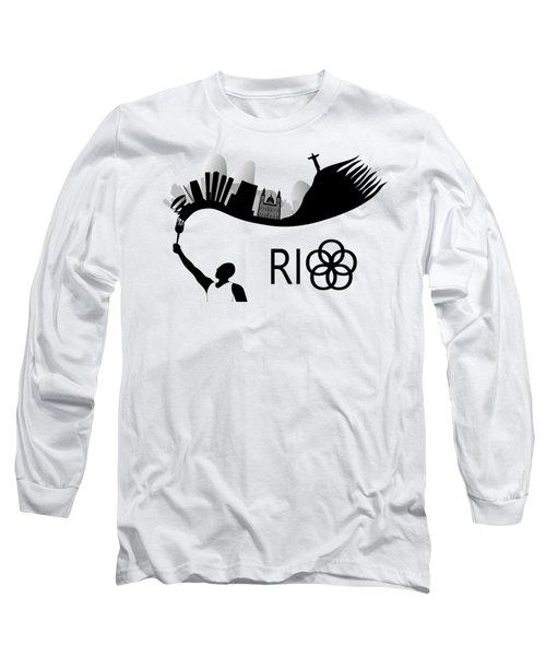 Rio De Janeiro Skyline Looks Like Torch Flames Long Sleeve T-Shirt by Michal Boubin