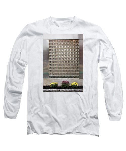 Long Sleeve T-Shirt featuring the photograph Rippled Glsss Window Segments Above The Garden by Gary Slawsky