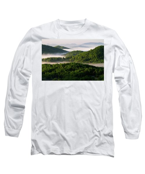 Rivers Of White Long Sleeve T-Shirt by Deborah Scannell