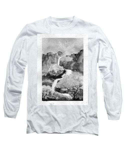 Long Sleeve T-Shirt featuring the painting Riviere Celeste by Marc Philippe Joly