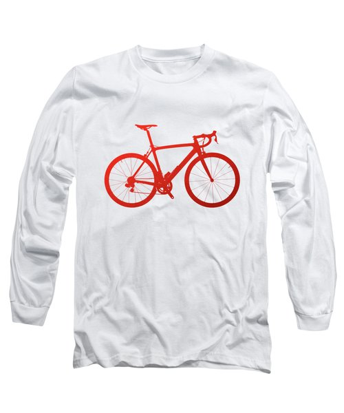 Road Bike Silhouette - Red On White Canvas Long Sleeve T-Shirt by Serge Averbukh