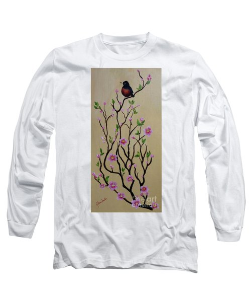 Robin And Spring Blossoms Long Sleeve T-Shirt