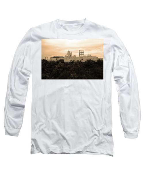 Long Sleeve T-Shirt featuring the photograph Rochester, Ny - Factory On A Hill Sepia by Frank Romeo