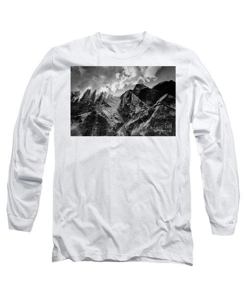 Rock #9542 Bw Version Long Sleeve T-Shirt by Andrey Godyaykin