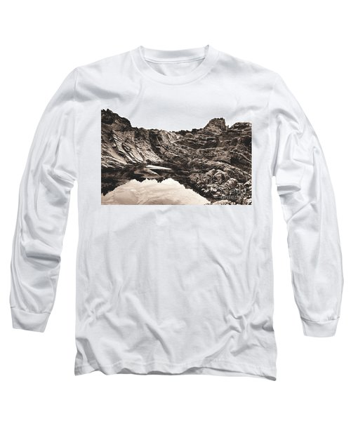 Long Sleeve T-Shirt featuring the photograph Rock - Sepia by Rebecca Harman