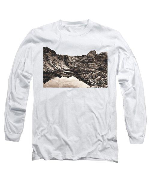 Rock - Sepia Long Sleeve T-Shirt by Rebecca Harman