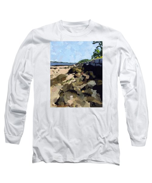Rock Wall Looking South On Ten Pound Island, Gloucester, Ma Long Sleeve T-Shirt