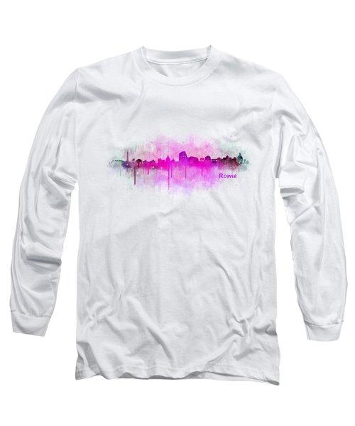 Rome City Skyline Hq V05 Pink Long Sleeve T-Shirt by HQ Photo