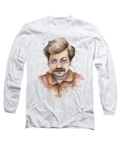 Ron Swanson Funny Love Portrait Long Sleeve T-Shirt