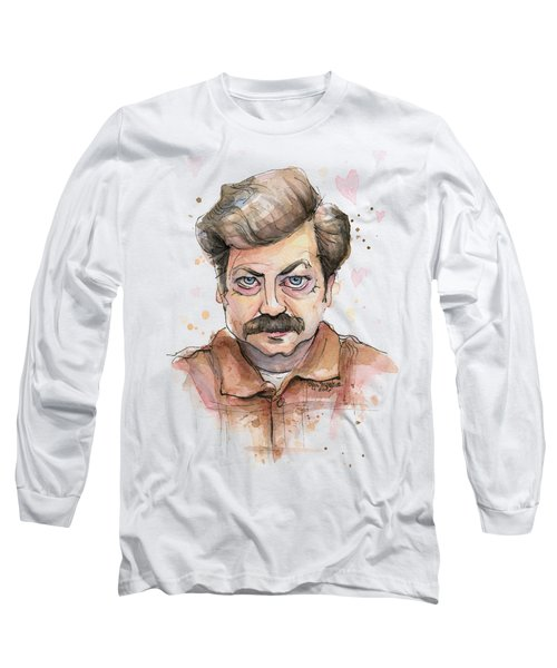 Ron Swanson Funny Love Portrait Long Sleeve T-Shirt