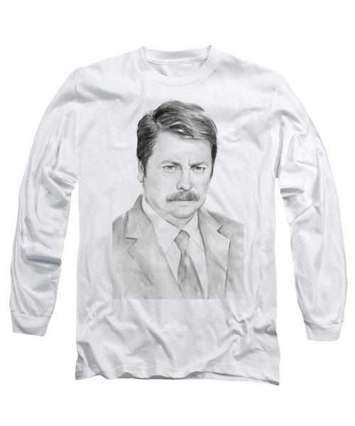 Ron Swanson  Long Sleeve T-Shirt by Olga Shvartsur