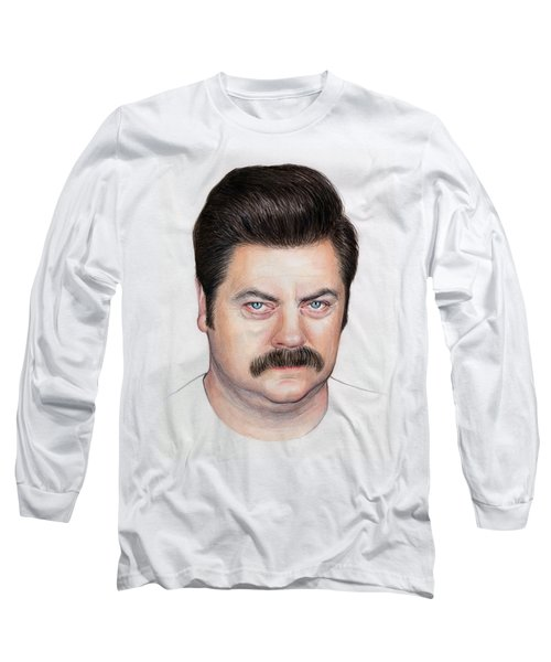 Ron Swanson Portrait Nick Offerman Long Sleeve T-Shirt by Olga Shvartsur