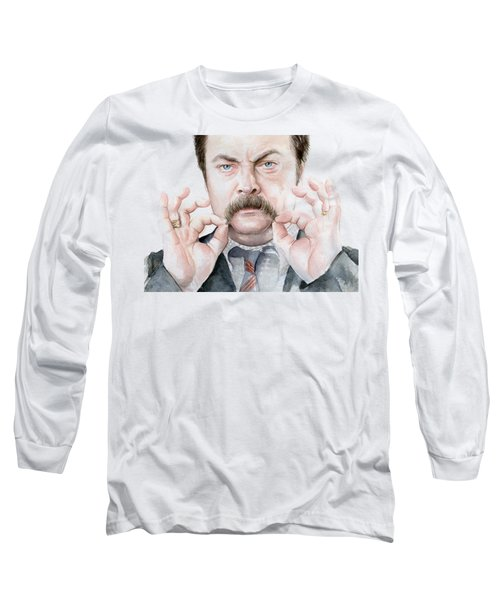 Ron Swanson Mustache Portrait Long Sleeve T-Shirt by Olga Shvartsur