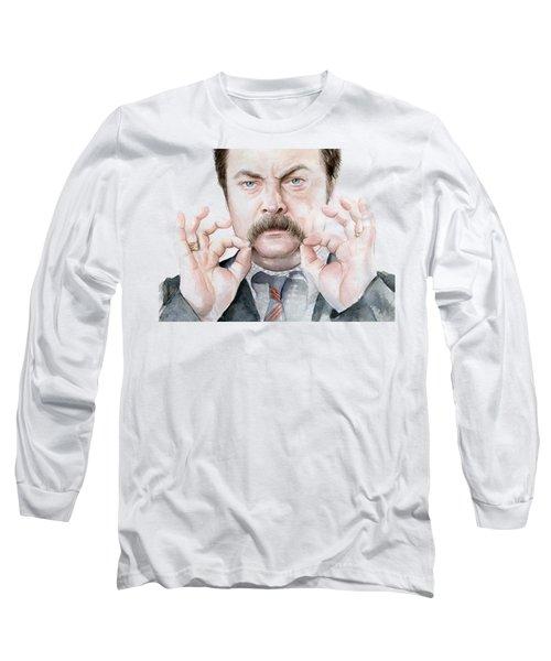 Ron Swanson Mustache Portrait Long Sleeve T-Shirt