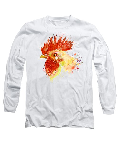 Rooster Head Long Sleeve T-Shirt by Marian Voicu