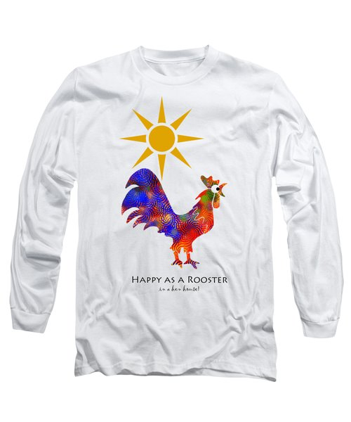 Rooster Pattern Art Long Sleeve T-Shirt by Christina Rollo