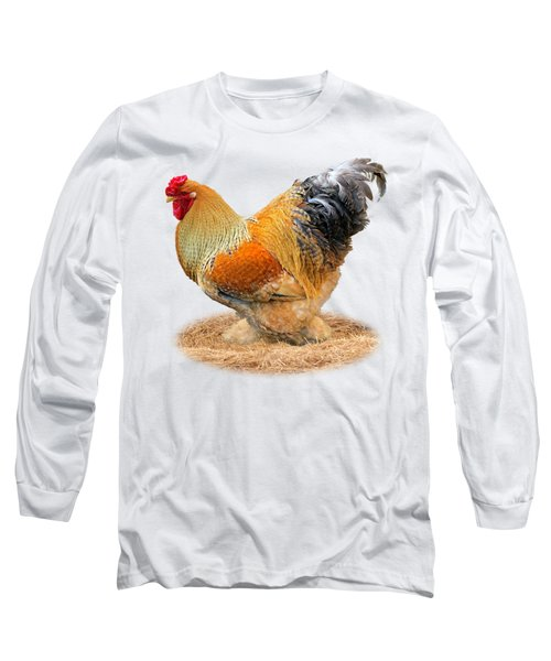 Rooster Side On White Long Sleeve T-Shirt