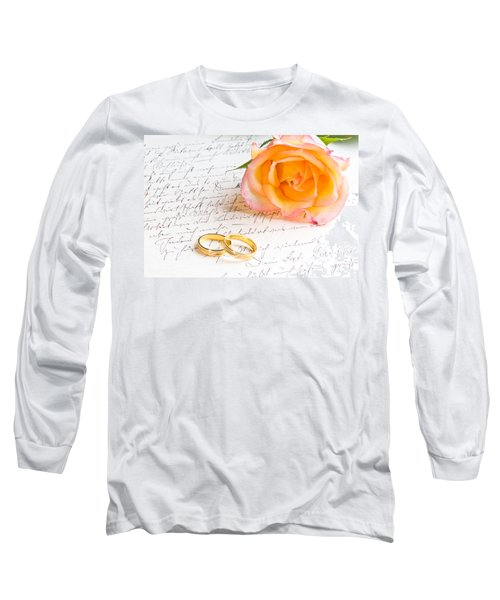 Rose And Two Rings Over Handwritten Letter Long Sleeve T-Shirt by Ulrich Schade