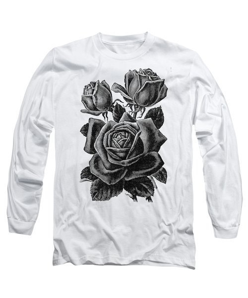 Long Sleeve T-Shirt featuring the digital art Rose Black by ReInVintaged