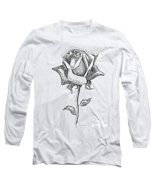 Rose Drawings Black-white 5 Long Sleeve T-Shirt