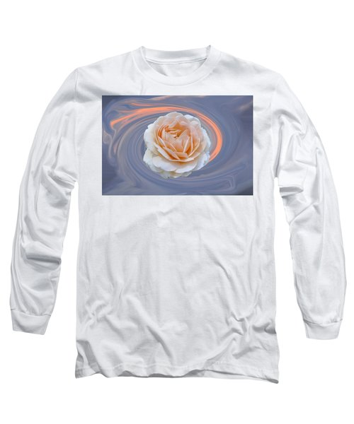 Rose In Swirl Long Sleeve T-Shirt by Helen Haw