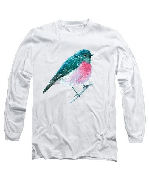 Rose Robin Oil Painting Long Sleeve T-Shirt by Jan Matson