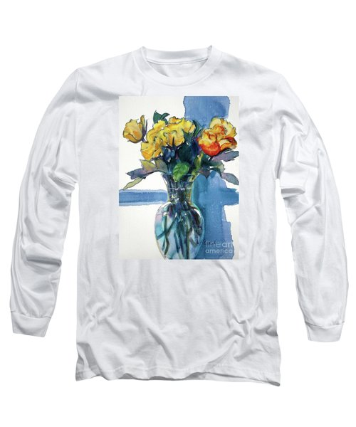 Roses In Vase Still Life I Long Sleeve T-Shirt by Kathy Braud
