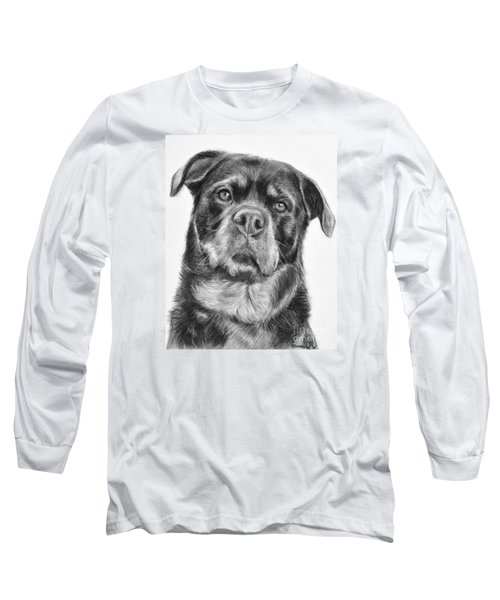 Rottweiler Drawing Titled Mama Long Sleeve T-Shirt by Kate Sumners
