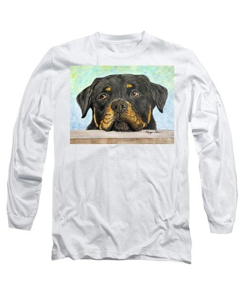 Rottweiler's Sweet Face 2 Long Sleeve T-Shirt by Megan Cohen