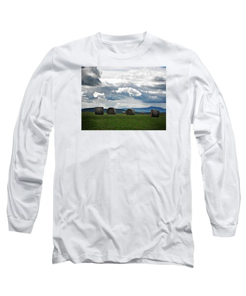Round Bales Under A Cloudy Sky Long Sleeve T-Shirt by Joy Nichols